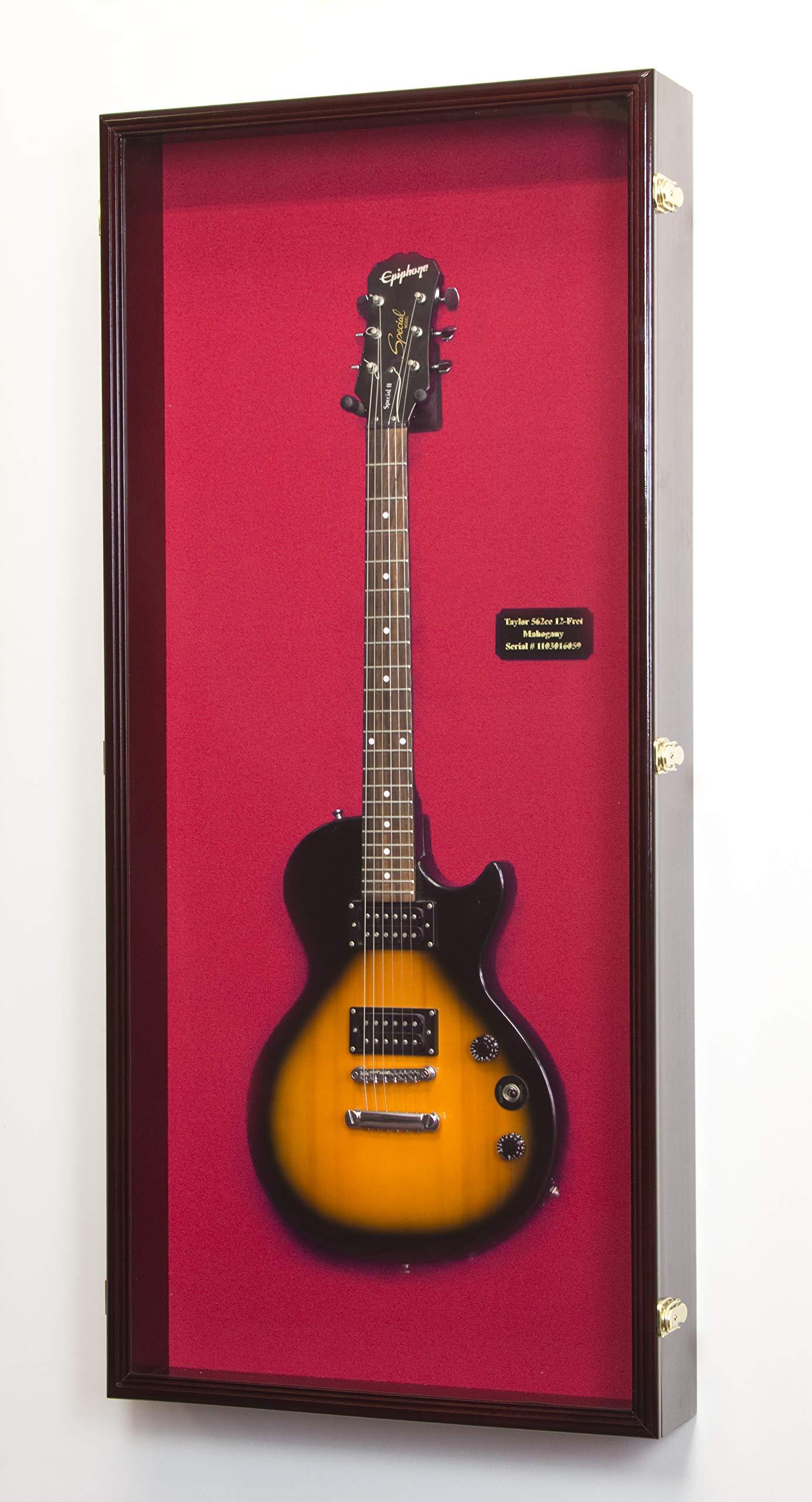 sfDisplay.com,LLC. Electric Bass Fender Guitar Display Case Cabinet Wall Rack Holder 98% UV Lockable 50x22'' (Cherry Wood Finish, Red Felt Background) by sfDisplay.com,LLC.