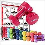 POWRX - Mancuernas vinilo 16 kg set (2 x 8 kg) + PDF Workout