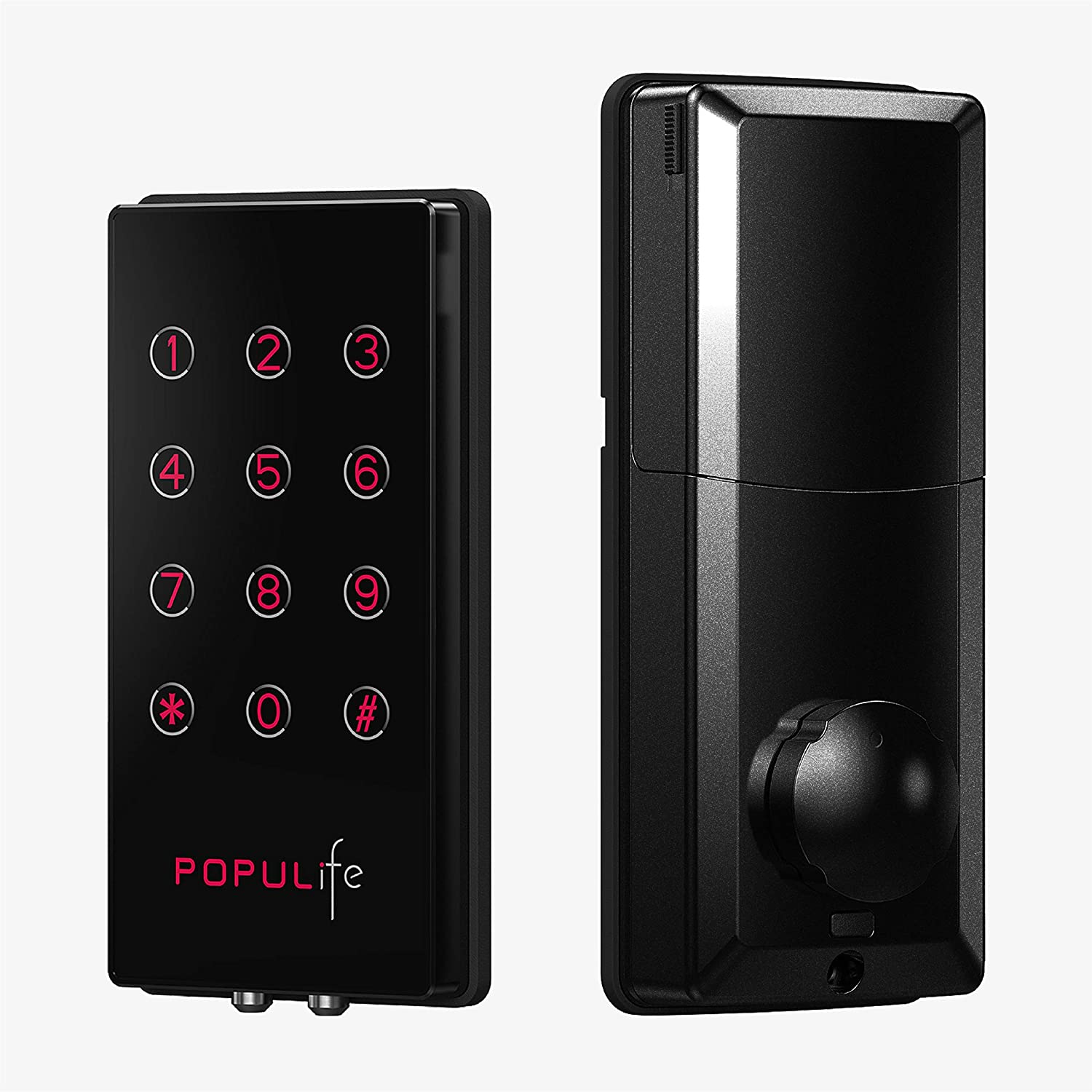 PopuLife Smart Keyless Entry Deadbolt Electronic Door Locks, Work with Bluetooth Keys, PIN Code, Remote Control with Gateway , Perfect for Home/Business/Property/Hotel, Black