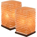 Crystal Allies Gallery: CA SLS-PILLAR-14cm-2pc Pack of 2 Natural Himalayan Salt Pillar Lamps on Wood Base with Cord, Light Bulb & Authentic Crystal Allies Info Card