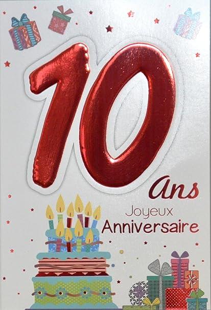 Age Mv 69 2010 Carte Joyeux Anniversaire 10 Ans Enfant Garcon Fille Motif Gateau 10 Bougies Cadeaux Amazon Fr Fournitures De Bureau