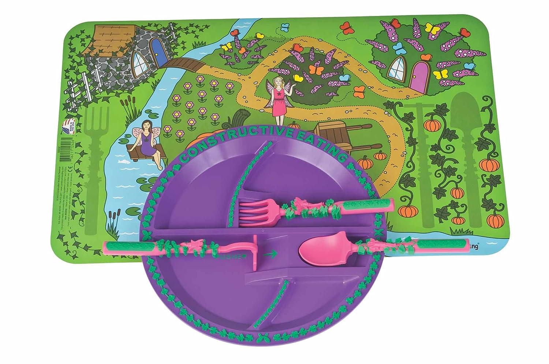 Promoción por tiempo limitado Constructive Eating – jardín hada Combo con utensilios de plato llano, plato y manteles individuales