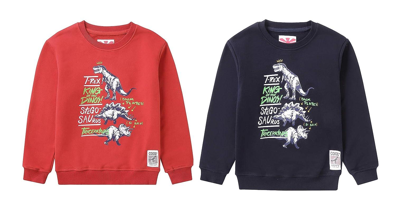 IRELIA Boys 2 Pack Long Sleeve Dinosaur Sweatshirts for Fall Winter