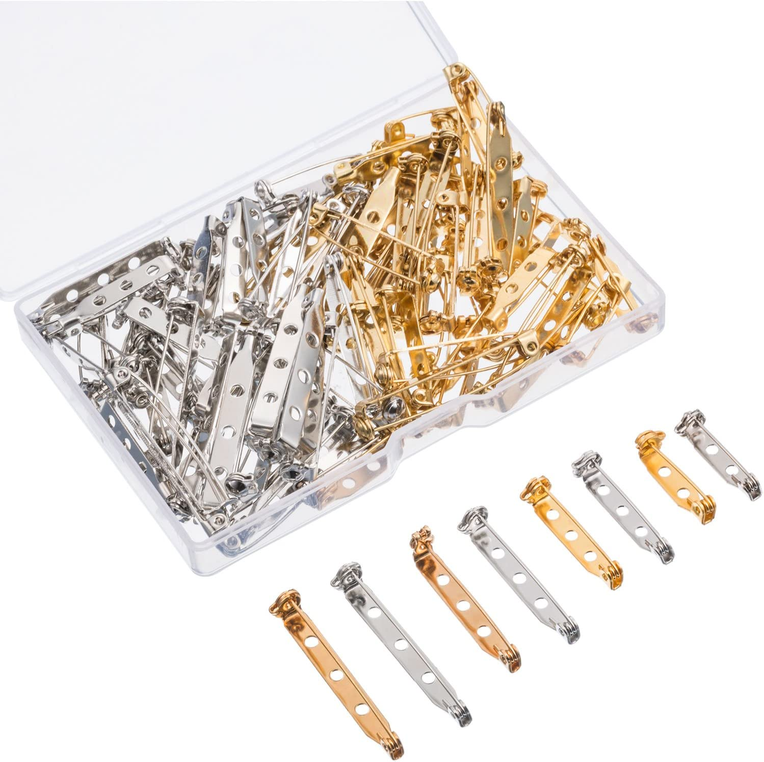 Shappy 100 Pieces Bar Pins Brooch Pin Backs Safety Clasp with Plastic Box 4 Sizes 20 mm 32 mm and 38 mm Gold and Silver 25 mm