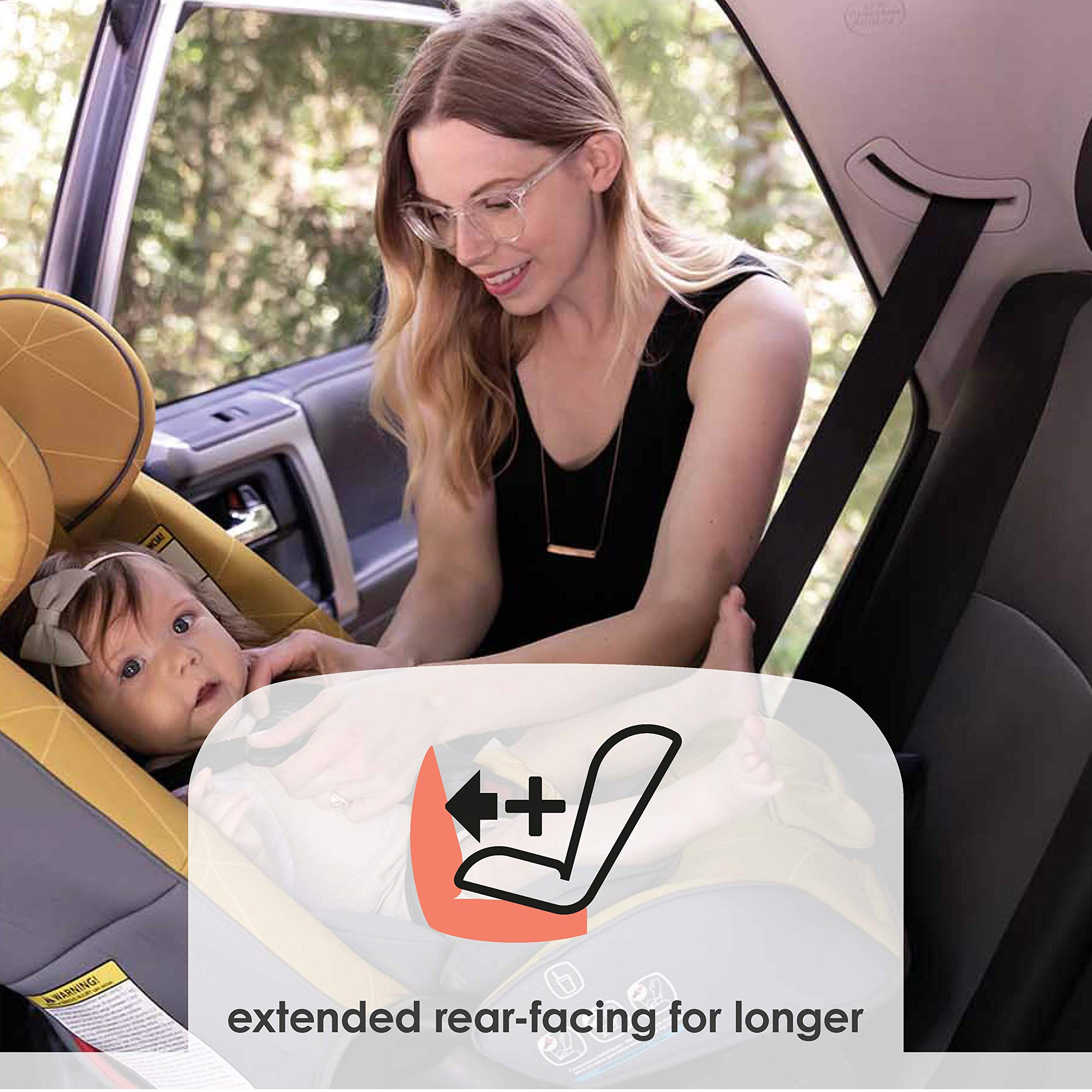 Diono Radian 3RXT All-in-One Convertible Car Seat - Extended Rear-Facing 5-45 Pounds, Forward-Facing to 65 Pounds, Booster to 120 Pounds - The Original 3 Across, Black by Diono (Image #3)