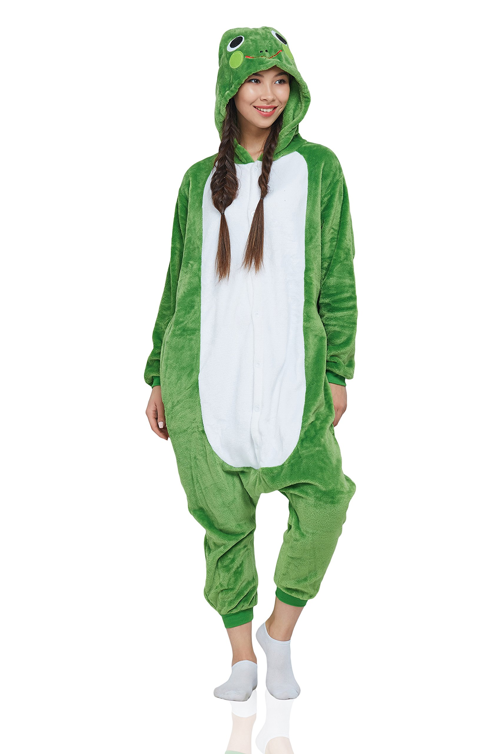 Nothing But Love Adult Frog Kigurumi Animal Onesie Pajamas Plush Onsie One Piece Cosplay Costume (Small, Green, White)