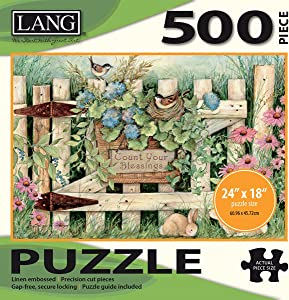 "LANG - 500 Piece Puzzle -""Garden Gate"", Artwork by Susan Winget - Linen Finish - 24"" x 18"" Completed"
