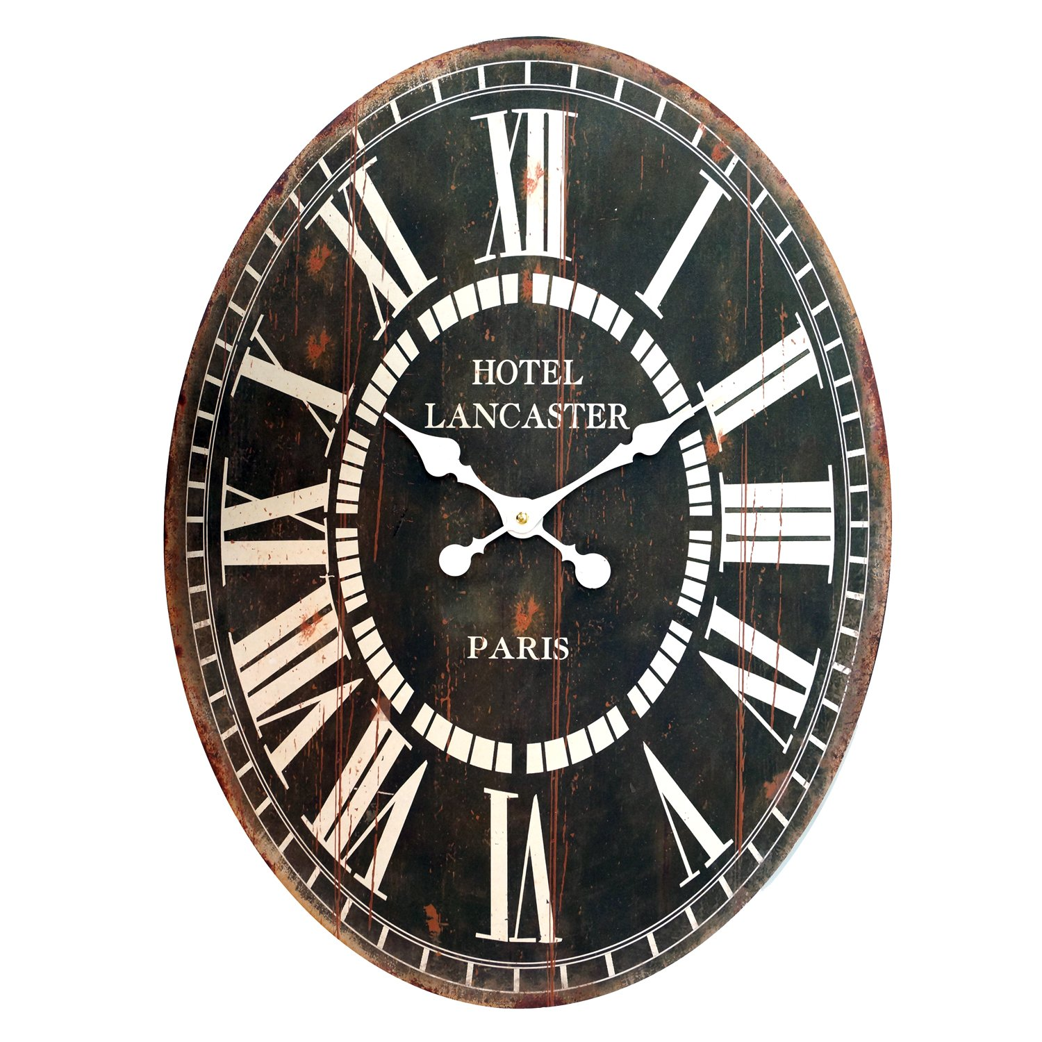 Amazon com mj8184 23 inch wooden oval hotel lancaster paris wall clock large home kitchen
