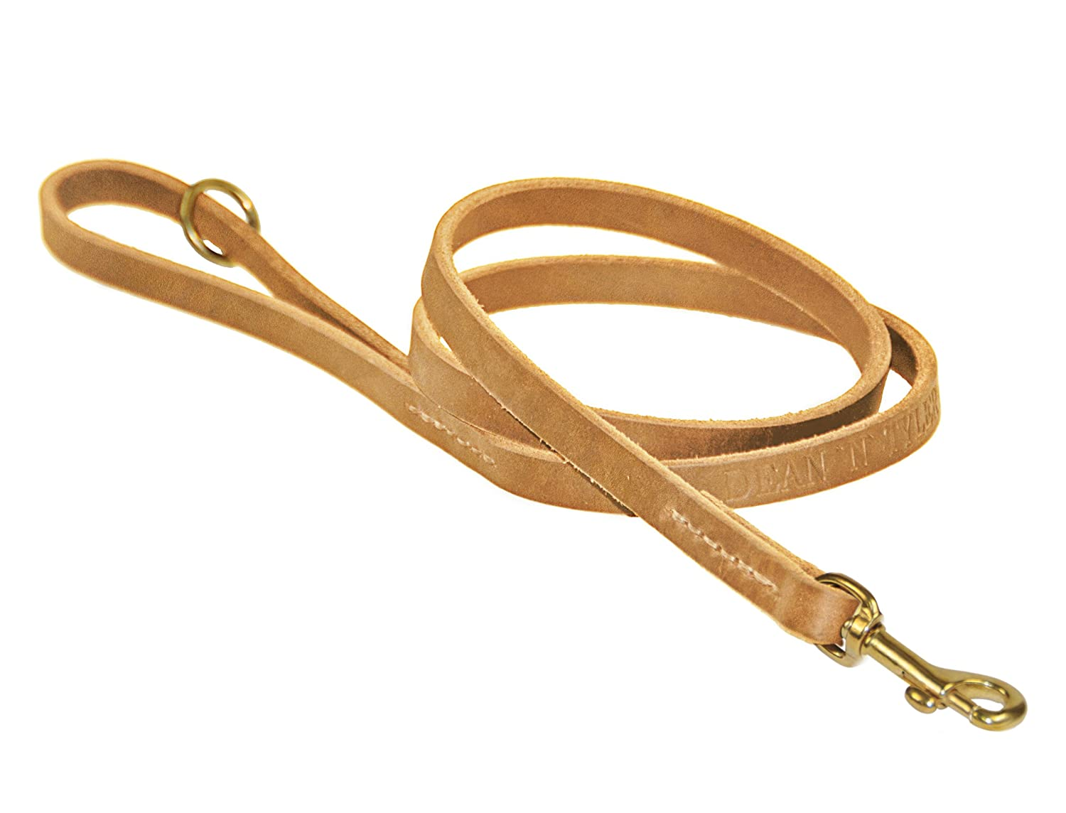 Dean & Tyler No Nonsense Dog Leash with Full Grain Leather and Solid Brass Hardware, 2-Feet by 1 2-Inch, Tan