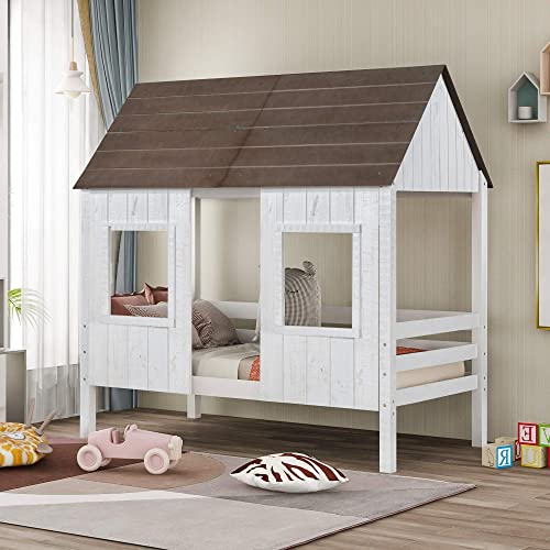 Hinpia Twin Size Low Loft Wood House Bed