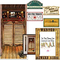 Curated Nirvana Western Party Decoration Bundle | Saloon Door Cover, Ghost Town Signs and Wanted Poster Photo Frame - 6 total pieces