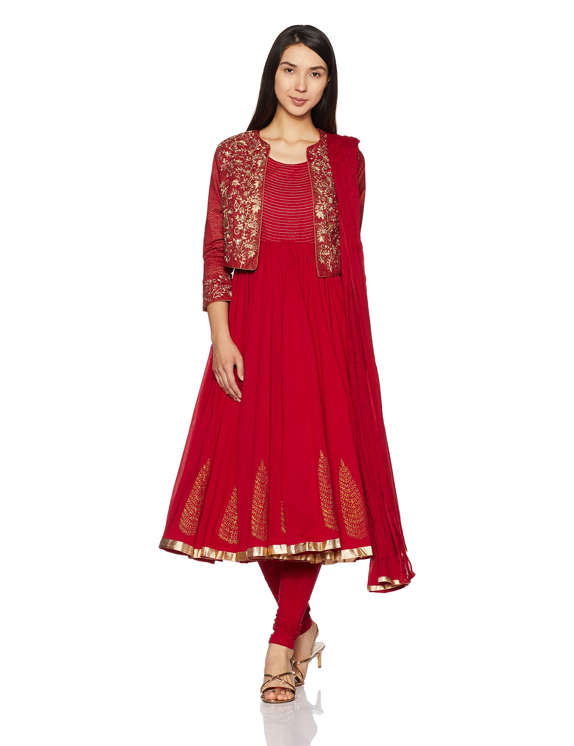 BIBA Women's Anarkali Cotton Suit Set 38 Red
