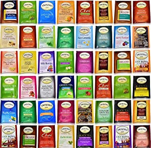 Blue Ribbon Tea Bags Sampler Assortment Variety Pack Gift Box - 48 Count - Perfect Variety - English Breakfast, Green, Black, Herbal, Chai Tea and more …
