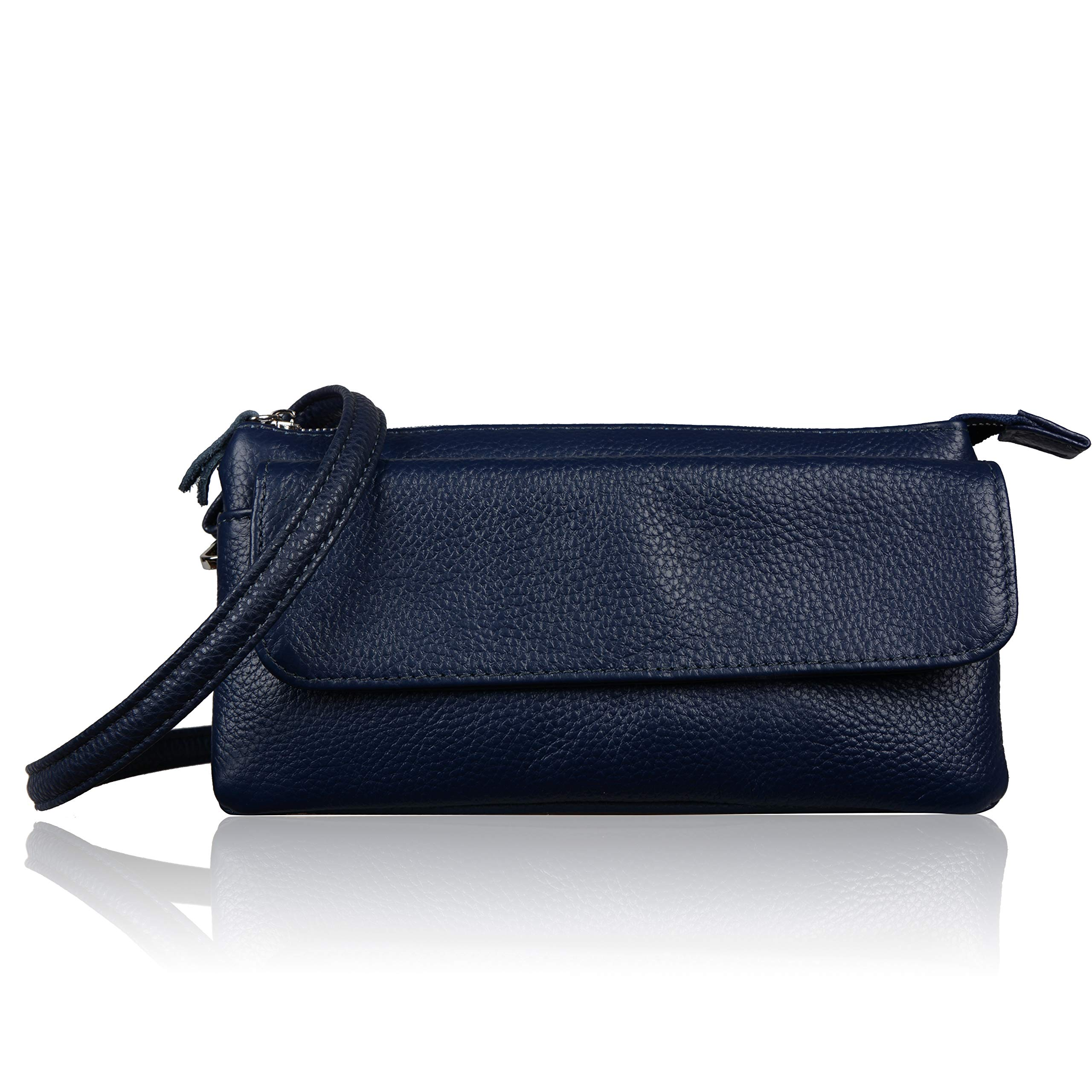 Befen Leather Wristlet Clutch Smartphone Crossbody Wallet with Card Slots/Shoulder Strap/Wrist Strap (Navy Blue Large)