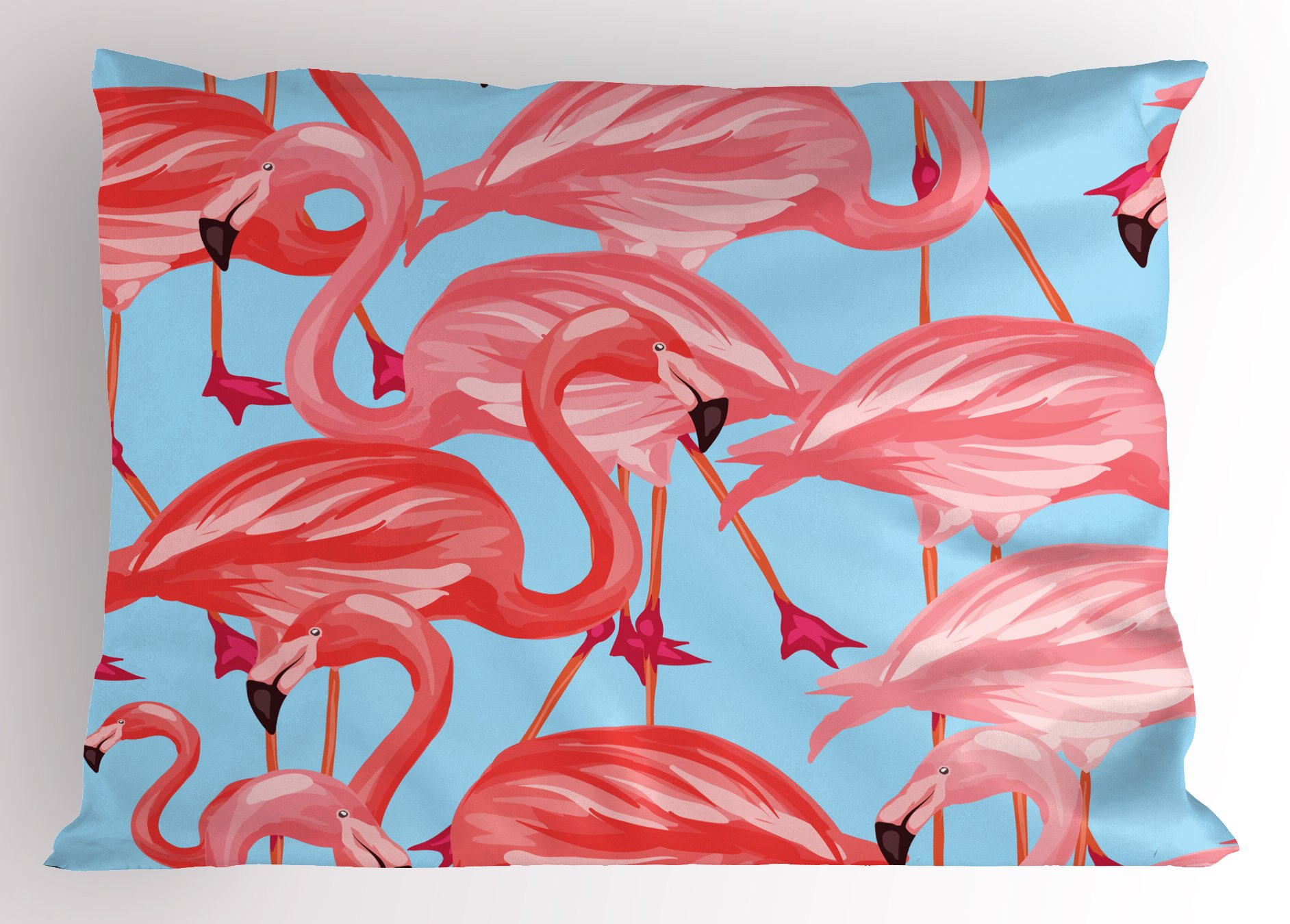 Lunarable Flamingo Pillow Sham, Tropical Birds Pattern Flamingos Colorful Exotic Animal Nature Artwork, Decorative Standard Size Printed Pillowcase, 26 X 20 inches, Coral and Light Blue