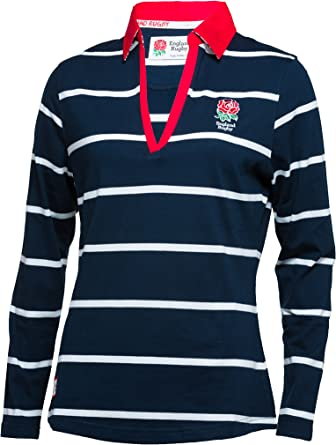 New England Rugby RFU Official Ladies Classic Striped Long Sleeve Shirt Navy