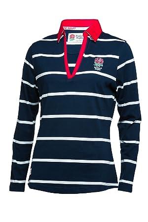 Inglaterra Rugby Inglaterra de Las Mujeres señoras de Manga Larga para diseño de Rayas Camiseta de