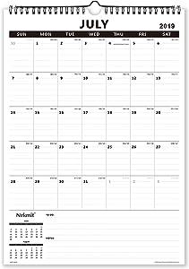 Nekmit 2019-2020 Academic Year Monthly Wall Calendar, 17 x 12 inches, Wirebound, Black