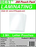Best Laminating - 3 Mil Clear Letter Size Thermal Laminating Pouches - 9 X 11.5 (200 Pouches)