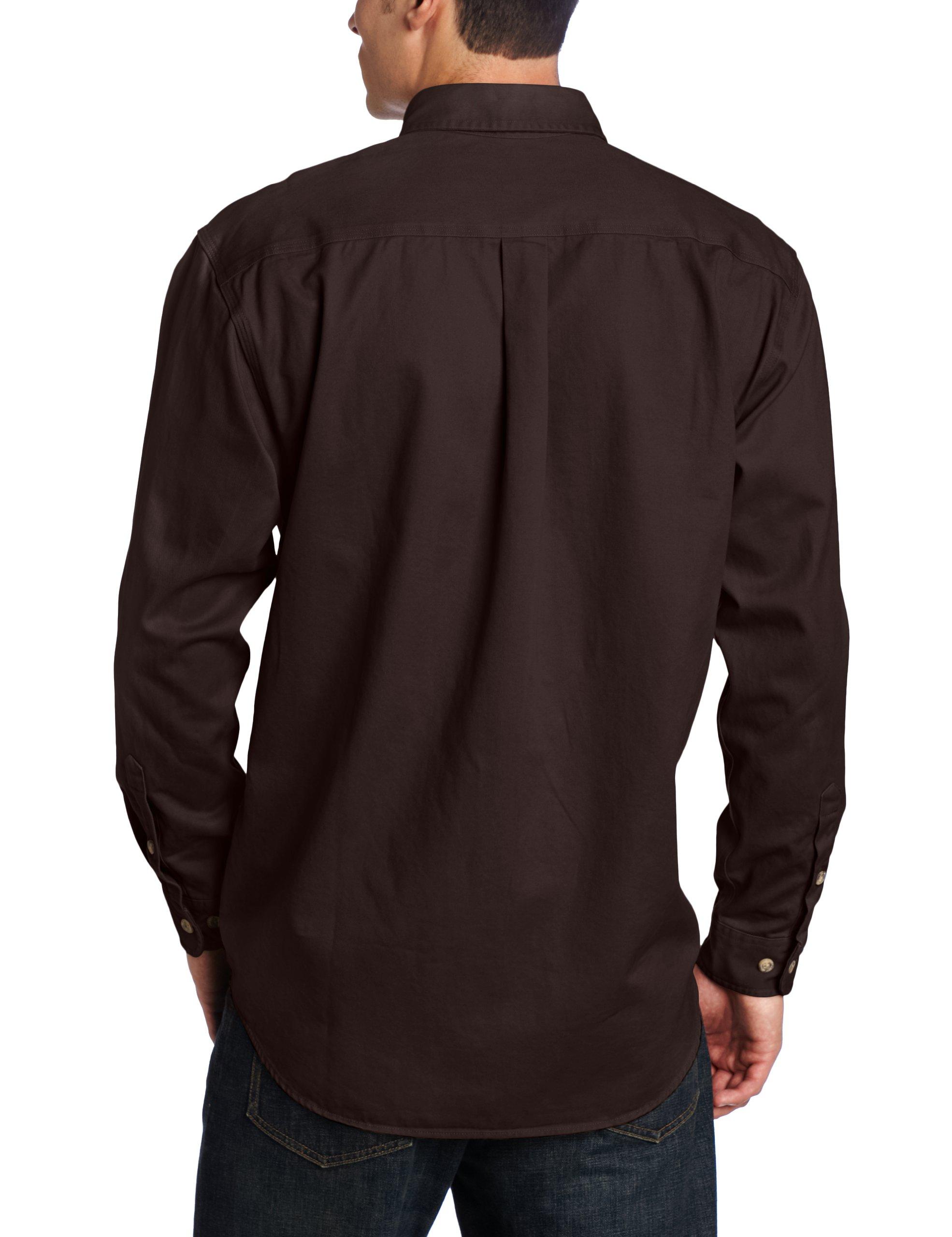 Carhartt Men's Oakman Sandstone Twill Original-Fit Work Shirt, Dark Brown, Regular XX Large by Carhartt (Image #2)