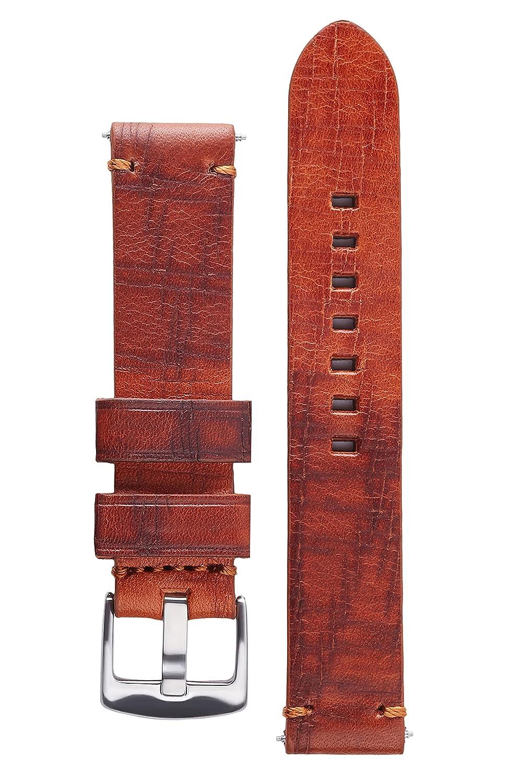 署名BizonカーフスキンWatch Band Bisonエンボスレザー時計ストラップブレスレット 24 mm ウッド 24 mm|ウッド ウッド 24 mm B072BWDQ6S