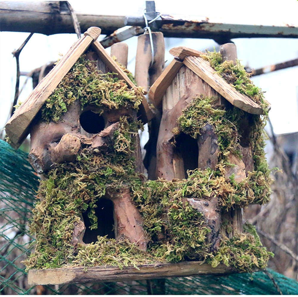 QTMY Preservative Wood Birds Cage Feeder Nestting Box Bird Outdoor House Garden Decoration