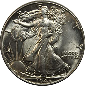 1945 D Walking Liberty Half Dollar 50c Unc.