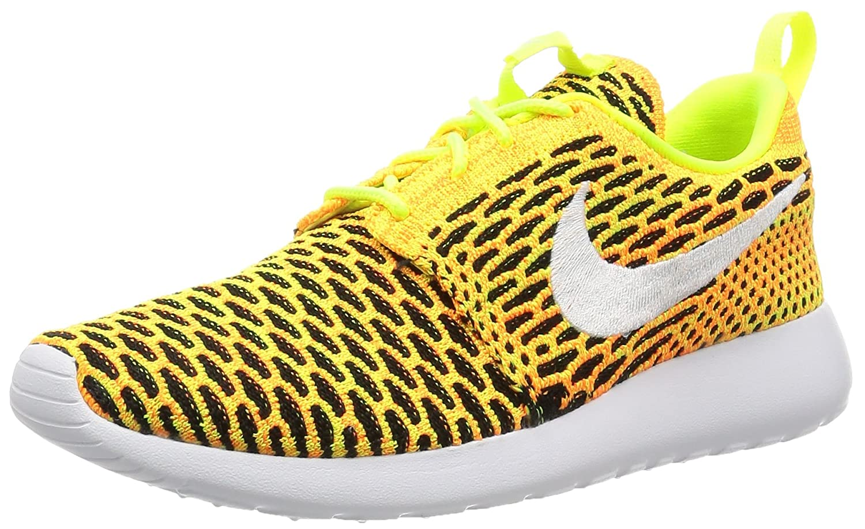 NIKE Womens Roshe One Flyknit Flyknit Colorblock Running Shoes B01I9KNWBG 8.5 M US|Volt/White-total Orange-black