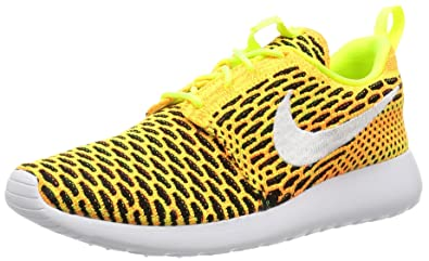 47af2973efb69 NIKE Women s Roshe One Flyknit Running Shoes-Volt White-Total Orange-Black