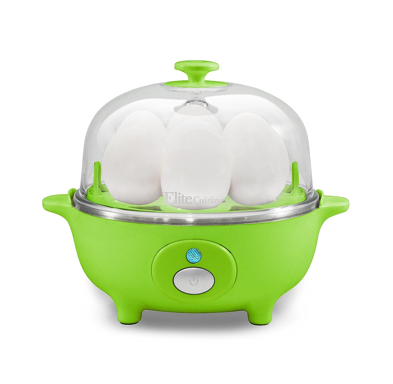 Elite Cuisine EGC-007G Maxi-Matic ~ Electric Egg Poacher, Omelet, Scrambled Eggs & Soft, Medium, Hard-Boiled Egg Boiler Cooker with Auto-Shut off and Buzzer, 7 Egg Capacity, Green