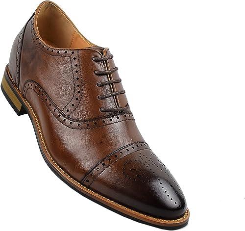 ZERIMAR Zapatos con Alzas Interiores para Hombres Aumento 7 cm | Zapatos de Hombre con Alzas Que Aumentan Su Altura | Zapatos Hombre Oxford (39,