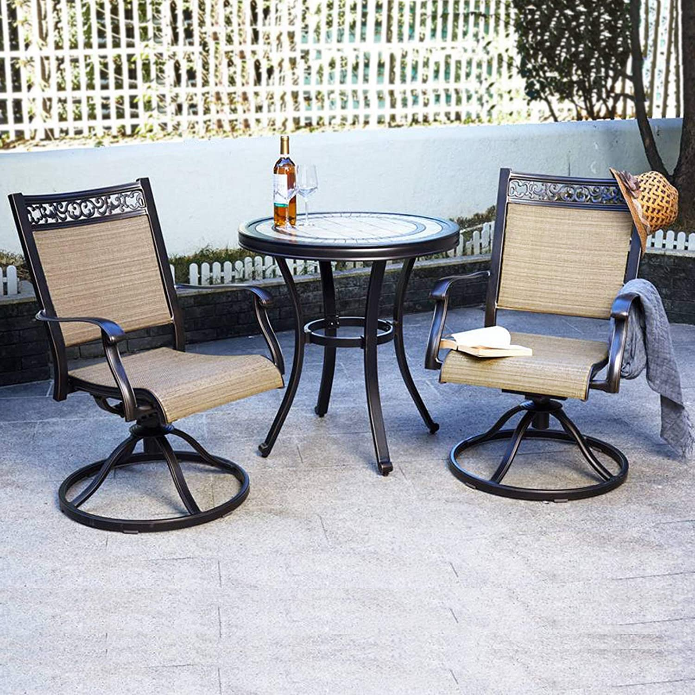 Dali 3 Piece Bistro Set, Handmade Contemporary Round Table Swivel Rocker Chairs Garden Backyard Outdoor Patio Furniture