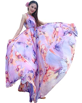 fec2ecf3c07 Medeshe Women s Floral Print Holiday Long Beach Wedding Guest Sundress Maxi  Dress (Length  115cm