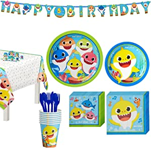 Party City Baby Shark Birthday Party Tableware Supplies for 8 Guests, Include Plates, Napkins, a Banner, and Decorations