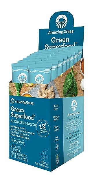 Superalimento Verde Amazing Grass, Desintoxicante Alcalino, 15 bolsas de 8g c/u | Su dosis diaria de verduras, frutas y vegetales