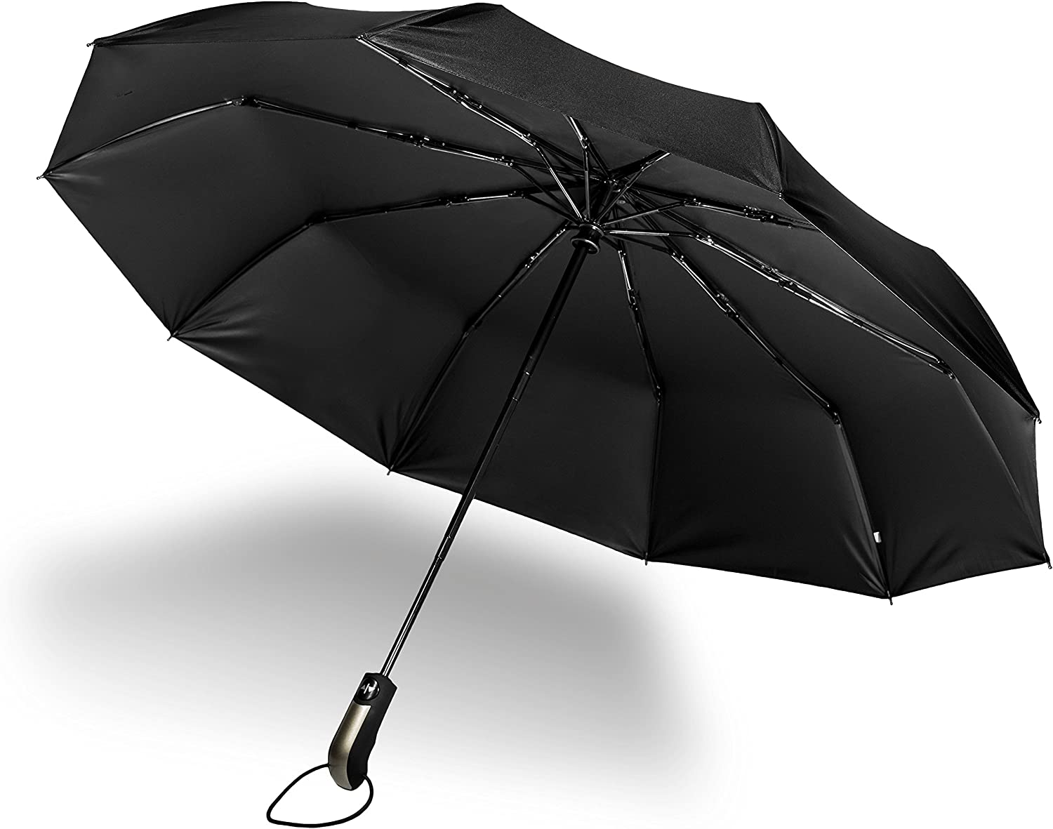 Umbrella Windproof Reinforced Frame Auto Open Close Rain Heavy Duty  Black