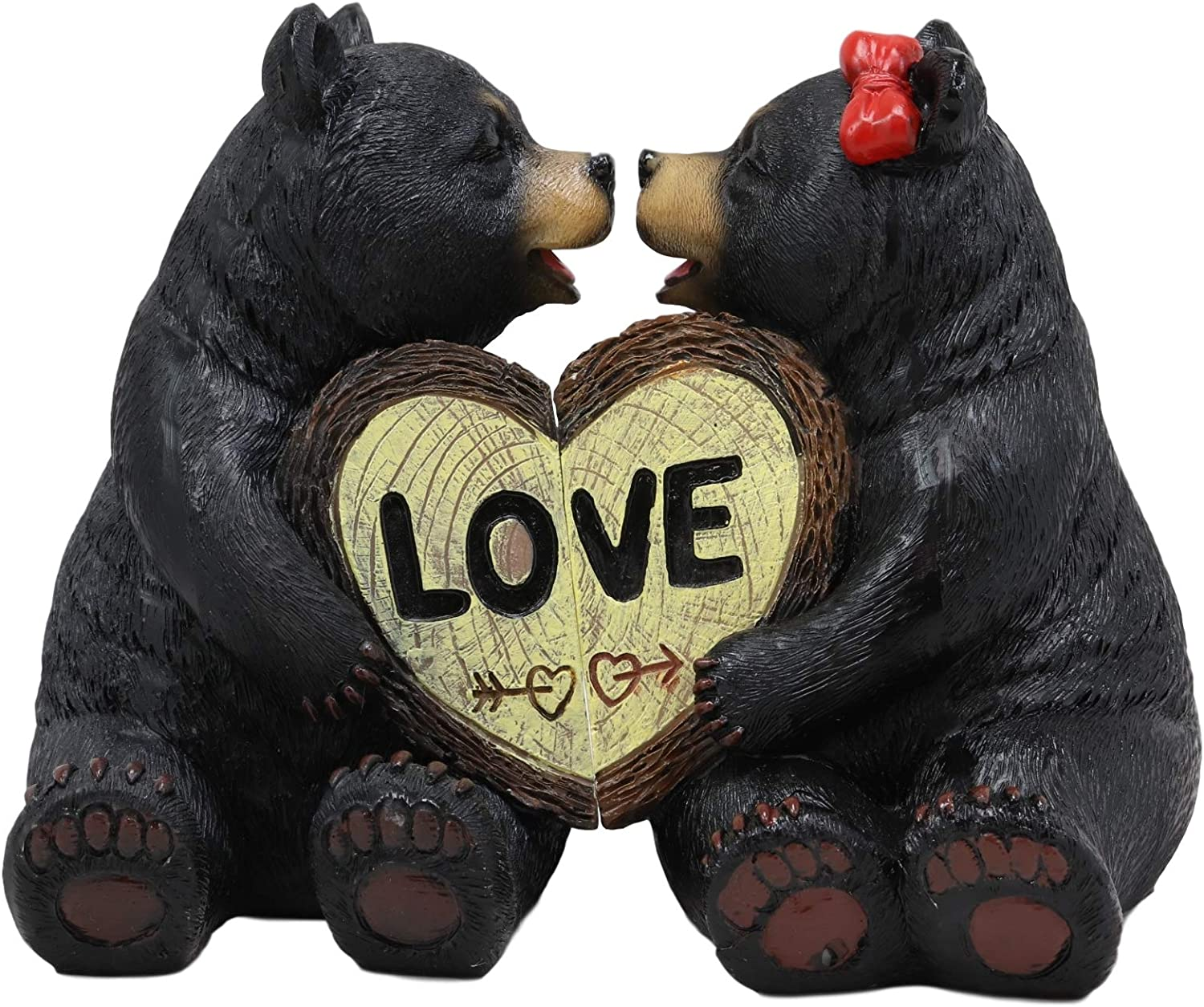 """Ebros Whimsical Love is in The Air Black Bear Couple Kissing and Holding Hands Figurines 2 Piece Parts 5"""" Tall Rustic Bears Valentine Lovers Decorative Figurine for Rustic Cabin Lodge Country Home"""