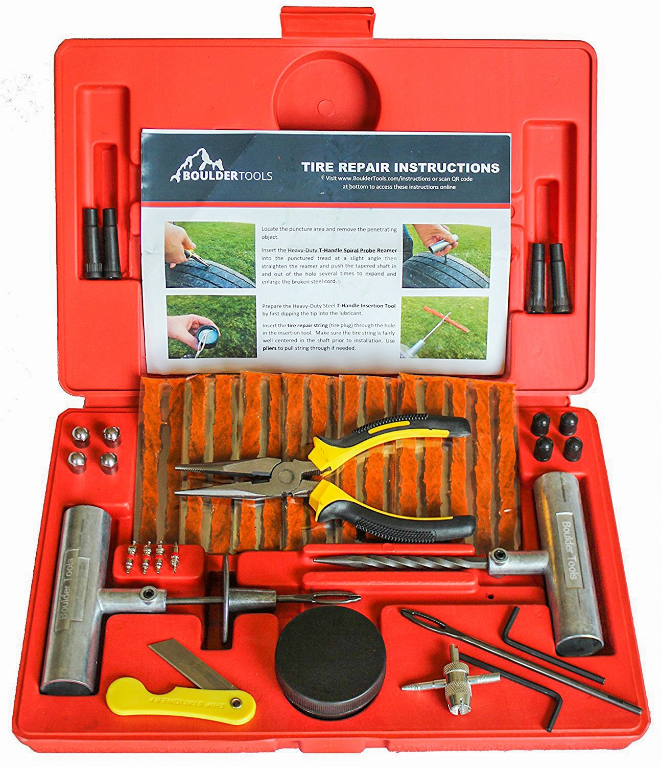 Boulder Tools – Heavy Duty Tire Repair Kit for Car, Truck, RV, Jeep, ATV, Motorcycle, Tractor, Trailer. Flat Tire Puncture Repair Kit