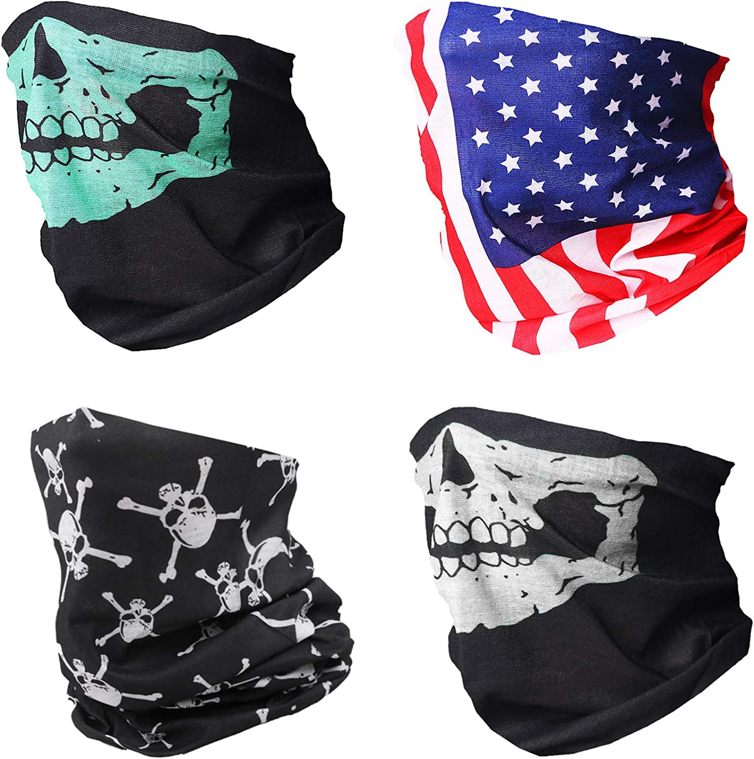 TRAILSIDE SUPPLY CO. 4-Pack Seamless Face Mask/Mouth Cover/Bandanas/Neck Gaiters