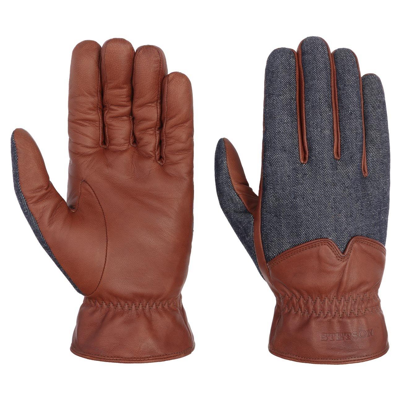 Stetson Nappa-Denim Lederhandschuhe Fingerhandschuhe Herrenhandschuhe Handschuhe Nappaleder Herren | mit Futter, Futter Herbst-Winter Futter Herbst-Winter | 9 HS denim