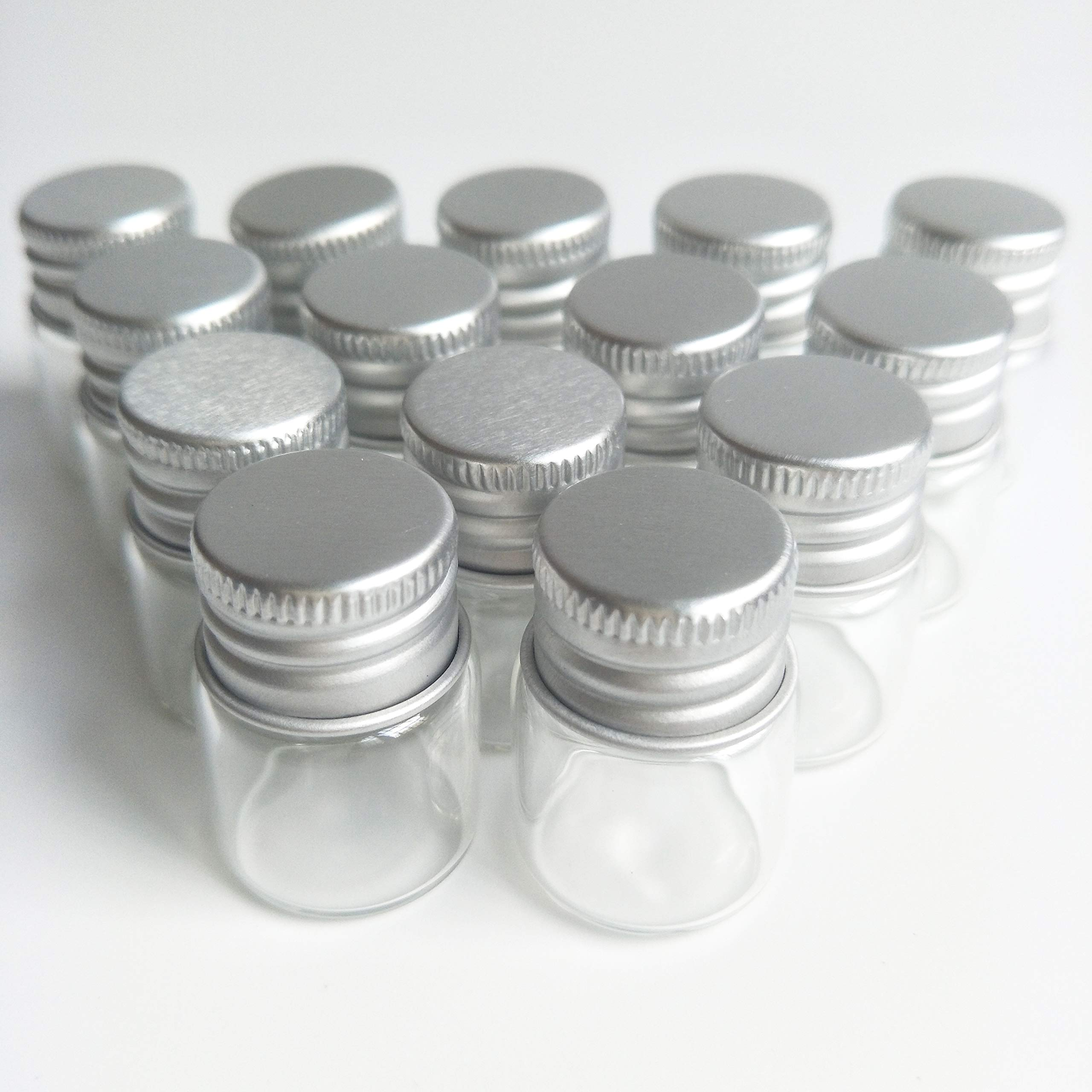 20pcs Sample Vials Clear Glass Bottles with Aluminum Caps Jars Small Bottle 5ml