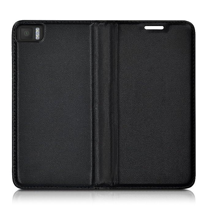 kwmobile Funda para bq Aquaris M4.5 - Carcasa para móvil de Cuero sintético - Case Plegable en Negro