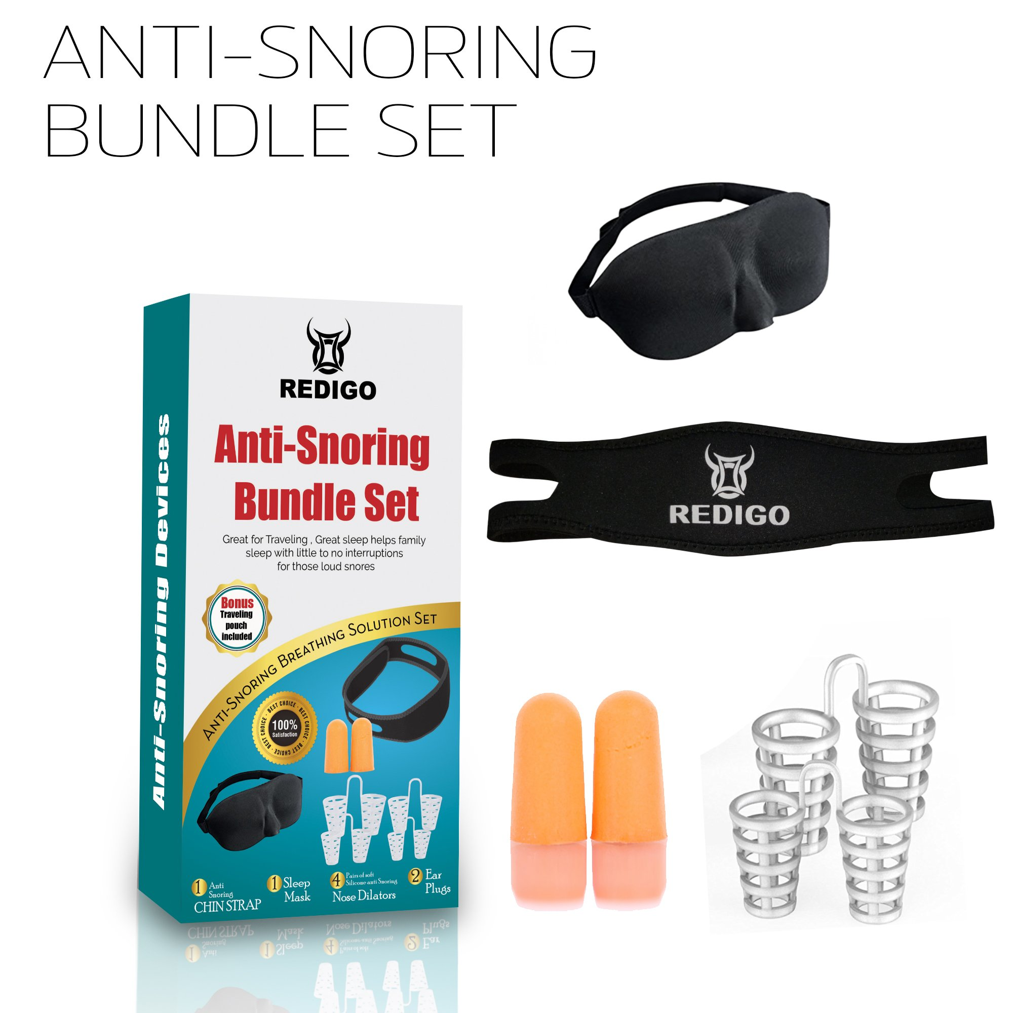 Redigo Anti-Snoring Devices Contoured Night Mask, Noise Cancelling Ear Plugs, Anti Snoring Chin Strap, Nose Vents & Travel Pouch – Relaxing Solution for Better Sleep