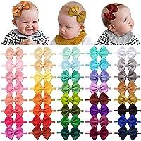 40 Pieces Baby Girls Headbands Nylon Hairband Grosgrain Ribbon Hair Bows Handmade Hair Accessories for Newborn Infant…
