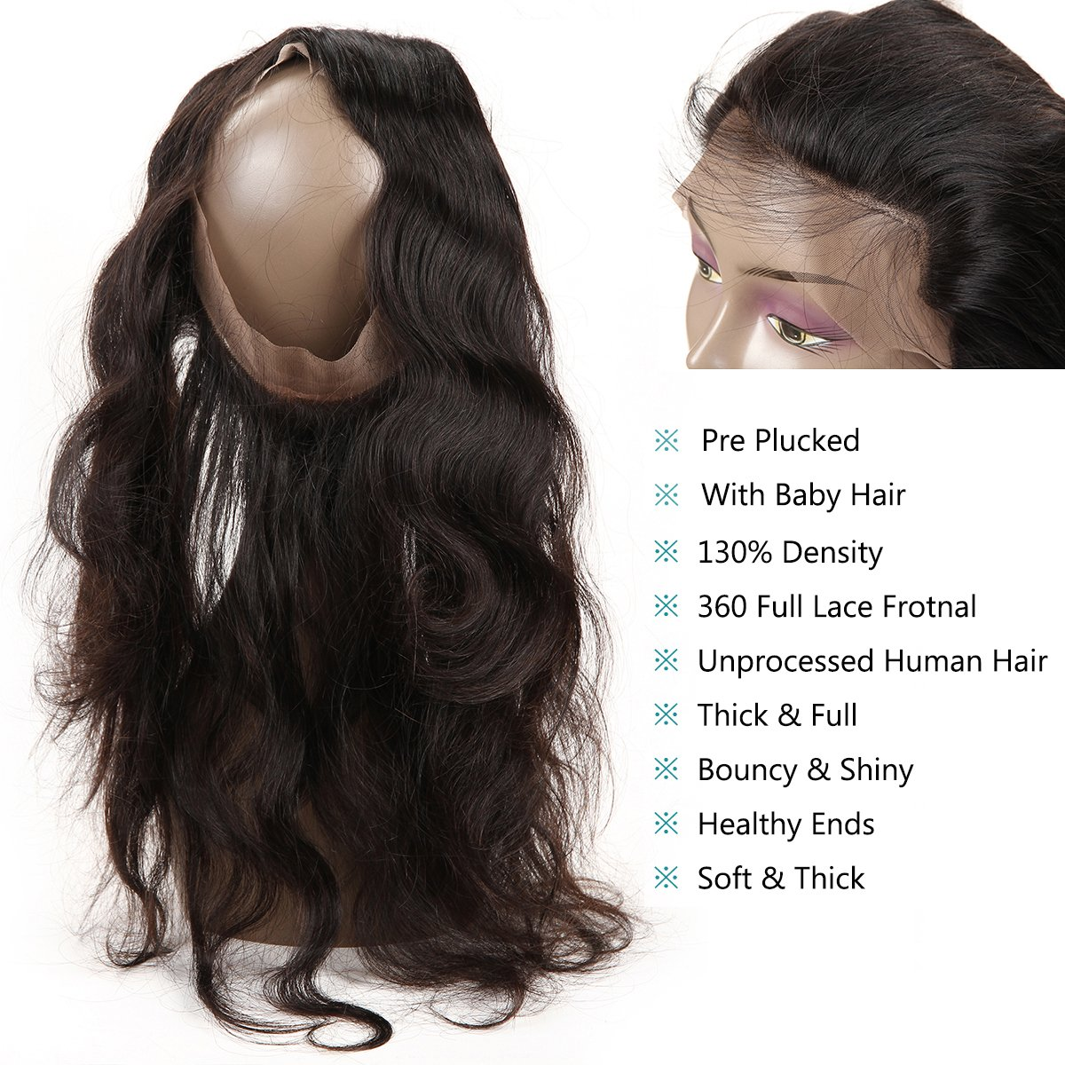 360 Lace Frontal with Bundles Pre Plucked 8A Brazilian Body Wave Virgin Hair Bunldes with 360 Lace Frontal Closure 3 Bundles brazilian hair with frontal Baby Hair (18 20 22+16 360Frontal) by Ashimary (Image #5)