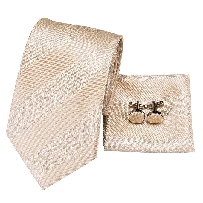 5d9cc757fa0a Amazon.com: Hi-Tie Classic Striped Tie Handkerchief Cufflinks Set for Men  Gift Box (champagne): Clothing