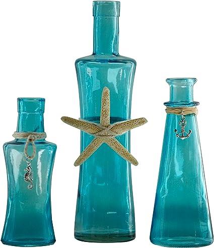 Ocean Collection Trio Of Blue Glass Decorative Bottles Coastal Decor Amazon Co Uk Kitchen Home