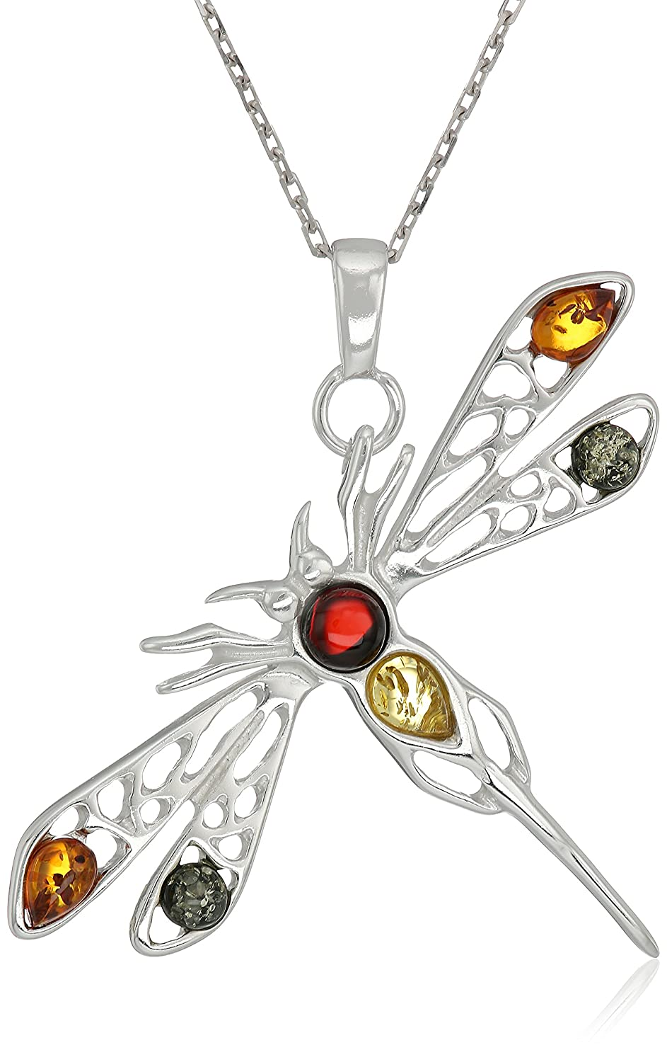 Rhodium Plated Sterling Silver Multicolor Amber Dragonfly Pendant Necklace, 18''