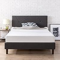 Deals on Zinus Upholstered Geometric Paneled Platform Bed Queen