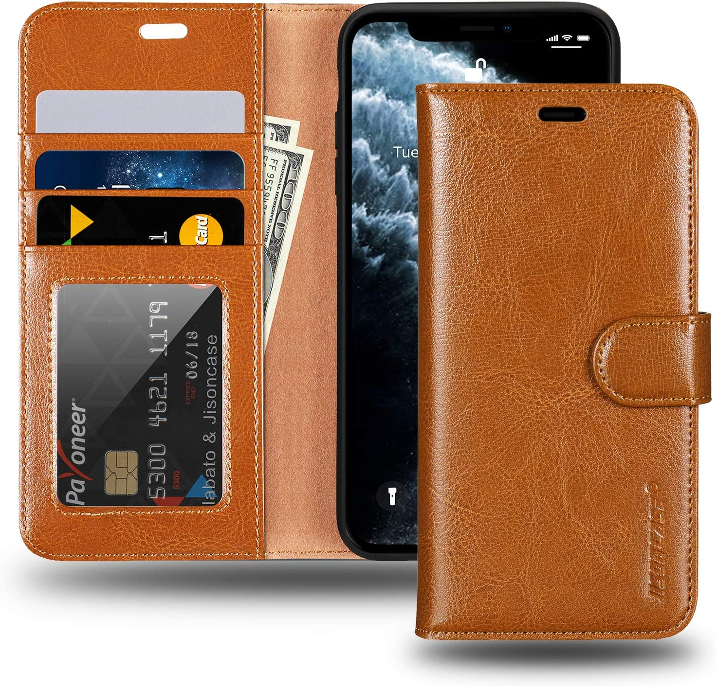 JISONCASE iPhone 11 Wallet Case, Anti-Slip Genuine Leather iPhone 11 Wallet Case with Cards Holder & Magnetic & RFID Blocking, Protective Cover Flip Case for Apple iPhone 11-(6.1 inch, Brown)